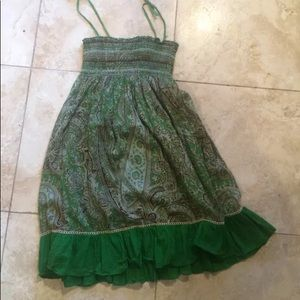Beautiful floral and paisley smocked dress green
